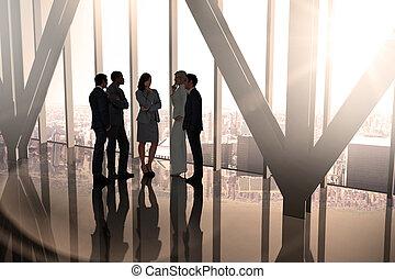 imagen compuesta, de, colegas negocio, hablar