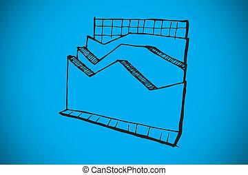 imagen compuesta, de, datos, análisis, garabato