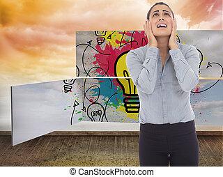 imagen compuesta, de, desesperado, mujer de negocios