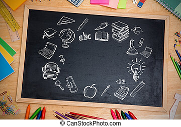 imagen compuesta, de, educación, doodles