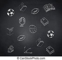 imagen compuesta, de, escuela, doodles