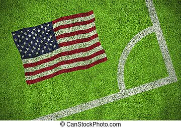 imagen compuesta, de, estados unidos de américa, bandera nacional