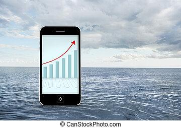 imagen compuesta, de, flechas, y, barchart, en, smartphone, pantalla