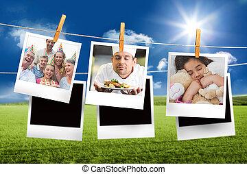 imagen compuesta, de, instante, fotos, ahorcadura, un, línea