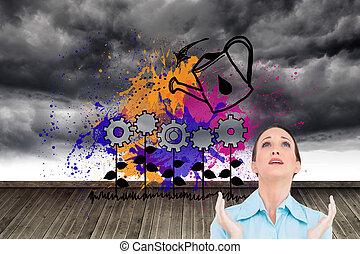 imagen compuesta, de, interesado, joven, mujer de negocios, rezando