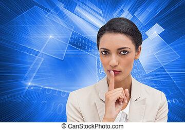 imagen compuesta, de, joven, mujer de negocios, preguntar,...