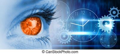 imagen compuesta, de, naranja, ojo, en, cara azul