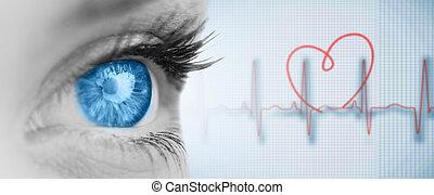 imagen compuesta, de, ojo azul, en, gris, cara