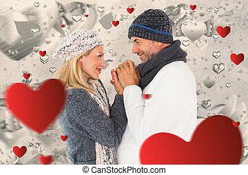 imagen compuesta, de, pareja, en, invierno