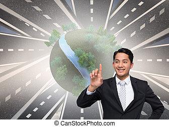 imagen compuesta, de, sonriente, asiático, hombre de negocios, señalar