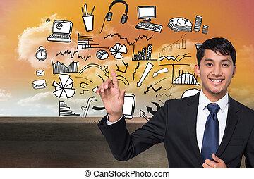 imagen compuesta, de, sonriente, hombre de negocios, conmovedor
