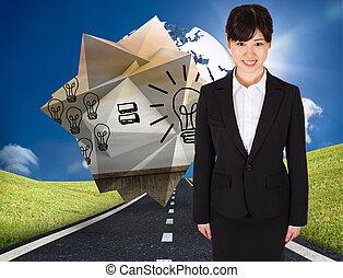 imagen compuesta, de, sonriente, mujer de negocios