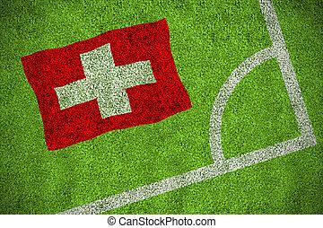 imagen compuesta, de, suiza, bandera nacional