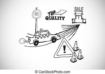 imagen compuesta, de, venta al por menor, doodles