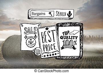 imagen compuesta, de, venta al por menor, venta, doodles