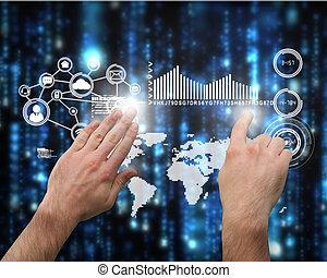imagen compuesta, presentación, señalar, manos