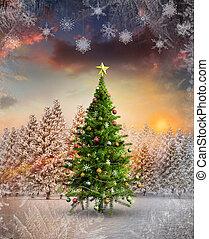 imagen, compuesto, árbol de navidad