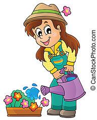 imagen, con, jardinero, tema, 1