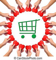 """imagen conceptual, dar, corazón, a, """"green, shopping""""."""