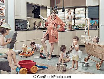 imagen conceptual, de, agotado, mamá, con, ella, el...