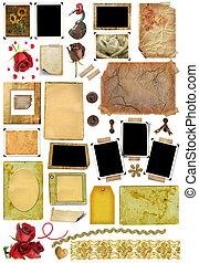imagen, conjunto, elementos, foto, pedacito, marcos, bordes