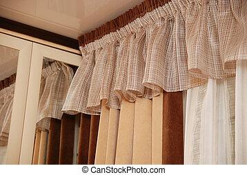 imagen, cortinas, lujoso
