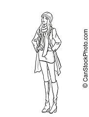 imagen, dama, otoño, monocromático, ropa
