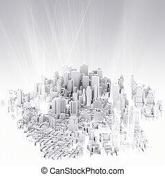 imagen, de, 3d, render, de, scape de ciudad