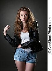 imagen, de, fresco, modelo, posar, en, diario, ropa