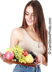 imagen, de, mujer hermosa, con, frutas y vehículos