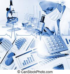 imagen, de, un, doctor, trabajando, en, labortory, y, diferente, equipo científico