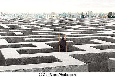 imagen, de, un, posición empresario, en las escaleras, en, un, labyrinth., 3d, ilustración