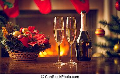imagen, dos, primer plano, tabla, champaña, navidad, ...