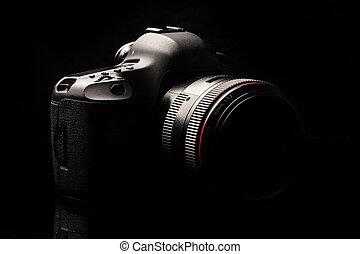imagen, dslr, profesional, llave, cámara, moderno, bajo
