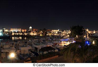 imagen, egipto, luces, asombroso, vista, noche