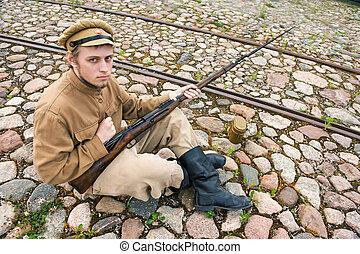 imagen, estilo, arma de fuego, soldado, retro, caldera