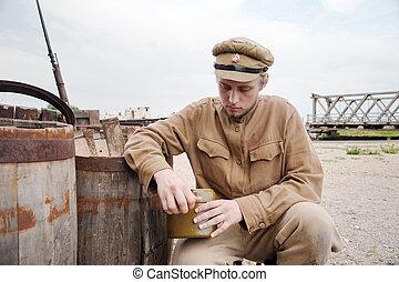 imagen, estilo, caldera, retro, soldado
