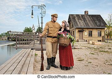 imagen, estilo, pareja, soldado, retro, dama