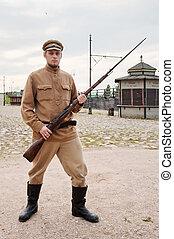 imagen, estilo, retro, arma de fuego, soldado