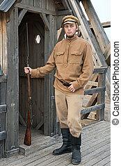 imagen, estilo, retro, sentry., soldado