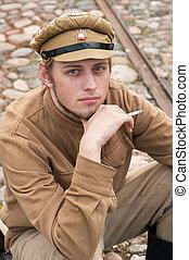 imagen, estilo, soldier., retro, descansar