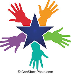 imagen, estrella, alrededor, manos