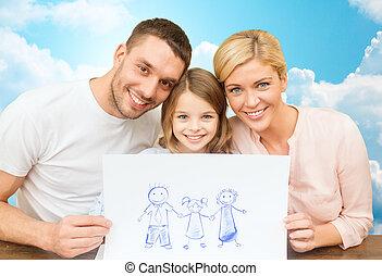imagen, feliz, dibujo, familia , o