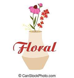imagen, florero, vector, diseño, plano de fondo, floral, ...