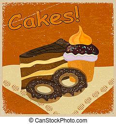 imagen, galletas, pastel, plano de fondo, pedazo, napkin., vendimia