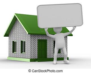 imagen, house., aislado, nuevo, presentación, 3d