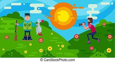 imagen, hunt., escena, illustration., caza, successfull,...