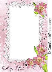 imagen, ilustración, encaje, rosa, marco, orquídeas, ...
