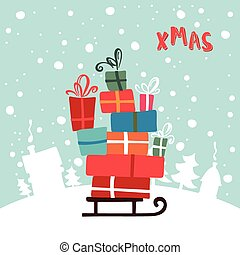 imagen, ilustración, regalos, sled., año, nuevo, navidad,...