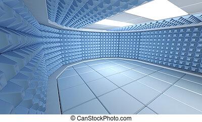 imagen, interior, habitación, insonoro, render, 3d